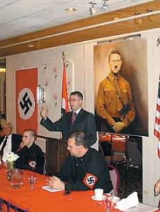 Tony Zirkle speaking at Hitler\'s birthday party